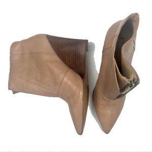 Joes Jeans Pointed Toe Leather Wedge Tan 8